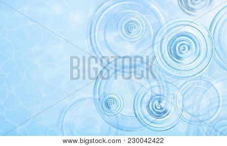 Summer Background. Radial Waves From A Rain On Water. Texture Of Water Surface. Overhead View. Circl