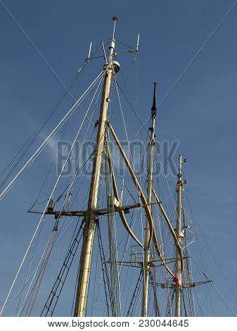 The Three Masts Of The Seagoing Ship.