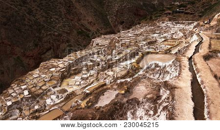 Salinas De Maras, Salt Evaporation Ponds Near The Sacred Valley And Cuzco In Southern Peru