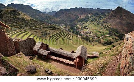 Pisac, The Old Inca Fortress And Terraced Fields In The Sacred Valley (valle Sagrado) Near Cusco, Pe