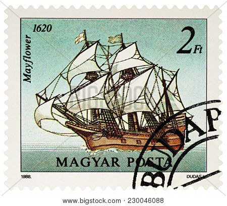 Moscow, Russia - March 07, 2018: A Stamp Printed In Hungary Shows Sailing Ship Mayflower (1620), Ser