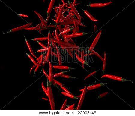 Paprika: Red Chilli Pepper Flow On Black
