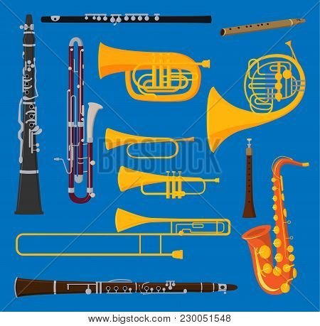 Musical Wind Air Tube Brass Instruments Vector Isolated On Background Blow Blare Studio Acoustic Shi