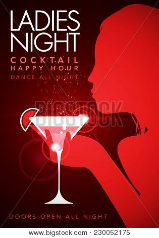 Vector Illustration Red Template Party Event Happy Hour Ladies Night Flyer Design With Cocktail Glas