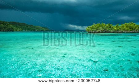 Beautiful Blue Lagoone Shortly Before Thunderstorm, Near Kordiris Homestay, Gam Island, West Papuan,