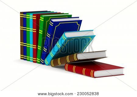 Falling bookson white background. Isolated 3D illustration