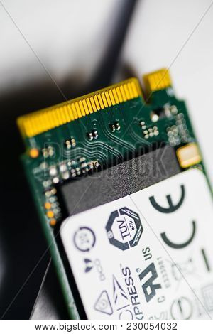 Paris, France - Jan 6, 2018: Detail Of The Pcie Nvme Fast Ssd Connector Cooper Pins - Ultra Fast Sto