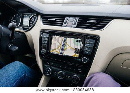 Frankfurt, Germany - Feb 2, 2018: Car Gps Infotainment Display System Showing Multiple Lanes And Jun