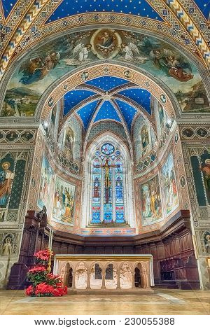 Interior View Of The Medieval Cathedral Of Gubbio, Umbria, Italy