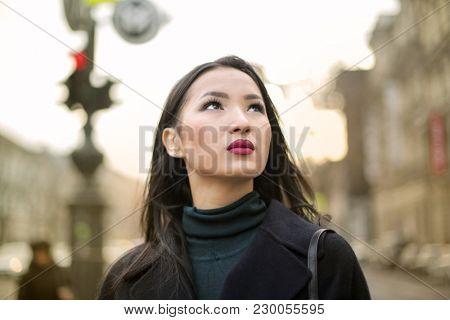 Beautiful woman in the street