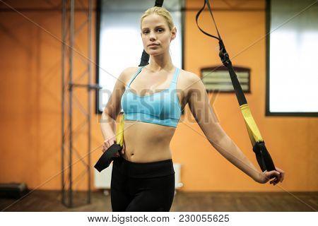 Blonde girl training