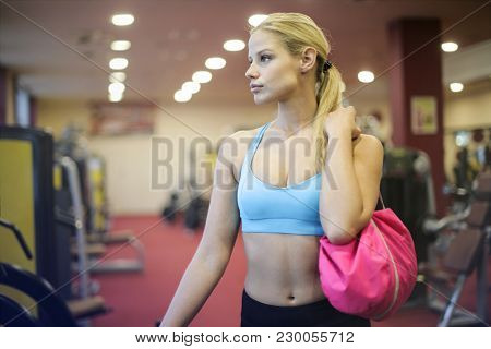 Trained woman with fit body
