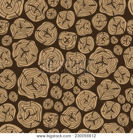 Vector Pattern Of Sawn Wood. Realistic Wooden Seamless. Vector Background Of Brown Wooden Pieces