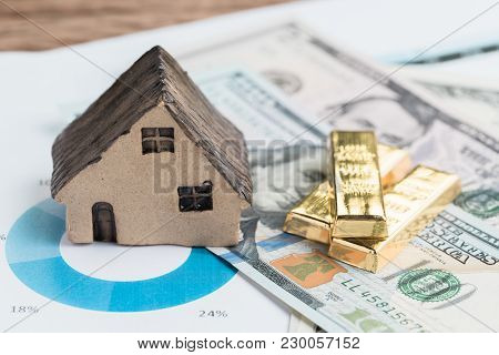 Wealth Management Or Investment Asset Allocation Concept, House, Gold Bars Ingot On Pile Of Us Dolla