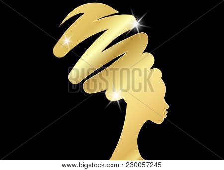 Hairstyle Concept With Beautiful Girl, Black Women Vector Silhouette. Design Concept For Beauty Salo
