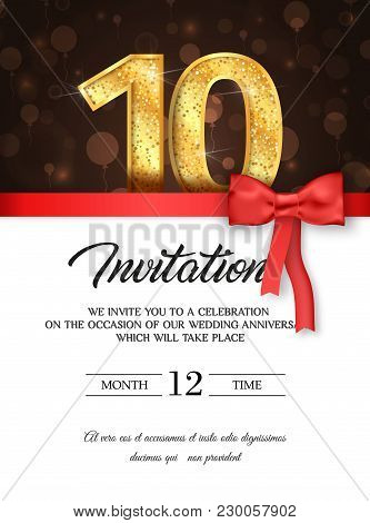 Template Of Invitation Card To The Day Of The Tenth Anniversary With Abstract Text Vector Illustrati