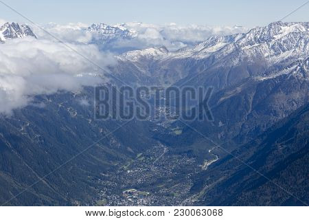 Panoramic View Of The Valley In Chamonix With Beautiful Mountain Peaks