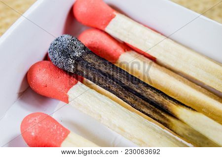Matches Enlarged. Several Heads Of Matches With Sulfur To Set Candles On.