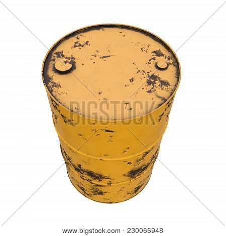 Old Rust Metal Barrel Oil Isolated On White Background. 3d Render Illustration