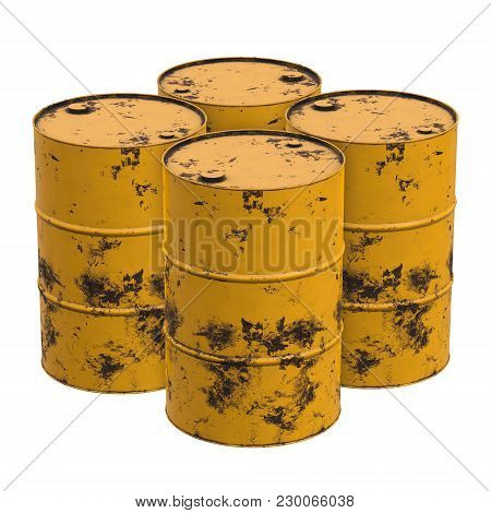 Old Rust Metal Barrels Oil Isolated On White Background. 3d Render Illustration