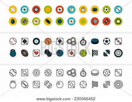 Black And Color Outline Icons Thin Flat Design, Modern Line Stroke Style, Web And Mobile Design Elem