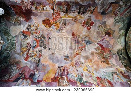 ASCAFFENBURG, GERMANY - JULY 07: Fresco on the ceiling of the Our Lady church in Aschaffenburg, Germany on July 07, 2017.
