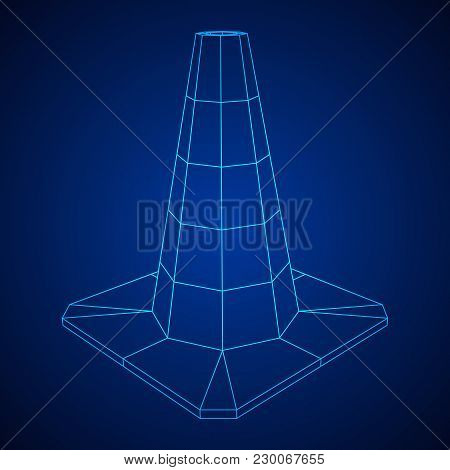 Traffic Cone. Road Sign Wireframe Low Poly Mesh Vector Illustration. Under Construction Concept.