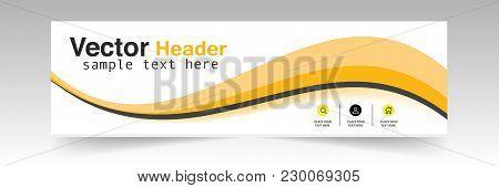 Abstract Orange Header Design Background Vector Image