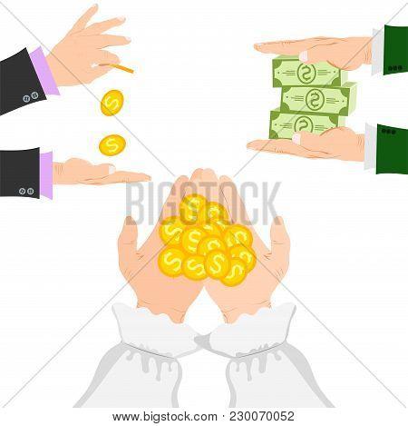 Businessman Human Hands Arm Holding Paper Money Stack Vector Illustration Finance Concept. Financial