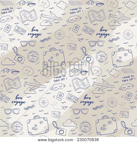 Doodle ready to take off airplane pattern. Playful, cute, and flexible doodle set collection for brand who has fun style. The art vector graphic can be repeated. Doodle art suits for kids and traveling theme. poster