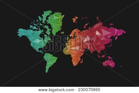 Concept Of Communication World, Graphic Of Colourful Polygon World Map In Futuristic Style