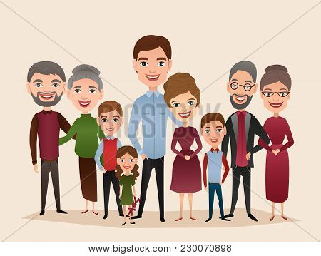 Big Happy Family Isolated Vector Illustration. Mother, Father, Grandparents, Children, Parents, Brot