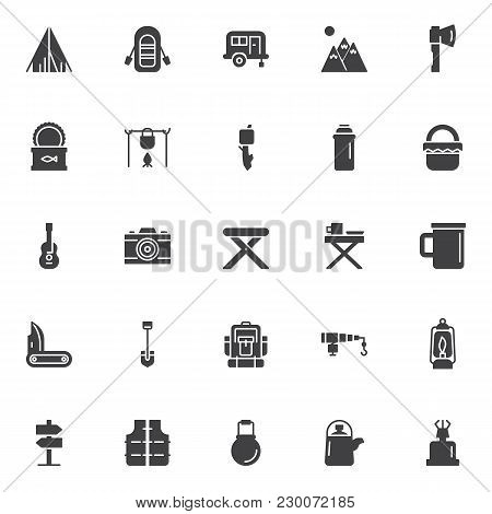 Camping Elements Vector Icons Set, Modern Solid Symbol Collection, Filled Style Pictogram Pack. Sign