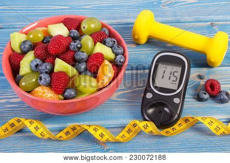 Fruit Salad, Glucose Meter With Result Of Sugar Level, Tape Measure And Dumbbells For Fitness, Conce