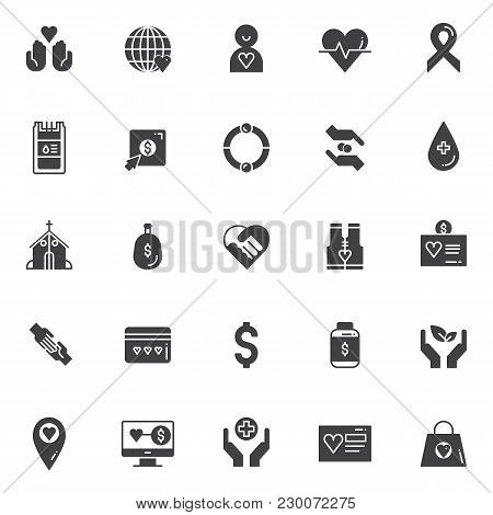 Charity Vector Icons Set, Modern Solid Symbol Collection, Filled Style Pictogram Pack. Signs, Logo I
