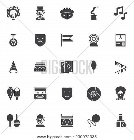 Circus Elements Vector Icons Set, Modern Solid Symbol Collection, Filled Style Pictogram Pack. Signs