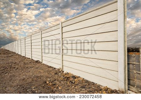 Perspective Of  Prefabricated Concrete Wall On Fresh Ground Floor, Prefabricated Cement Compound Wal