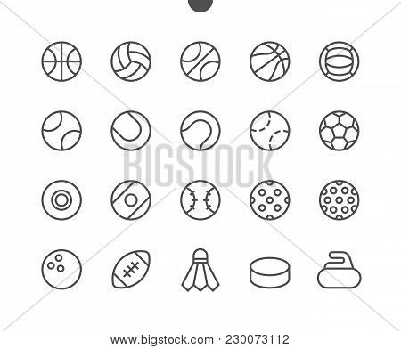 Sport Balls Ui Pixel Perfect Well-crafted Vector Thin Line Icons 48x48 Ready For 24x24 Grid For Web