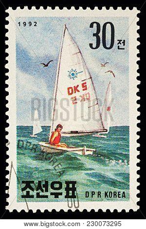 Sailboat On Postage Stamp