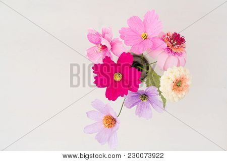 Crepe Paper Flower Bouquet With Cosmos, Zinnia And Echinacea In A Vase