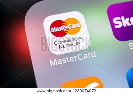 Sankt-petersburg, Russia, March 8, 2018: Mastercard Application Icon On Apple Iphone X Screen Close-