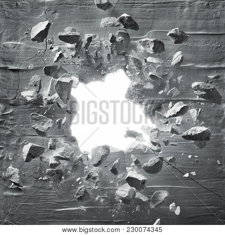 cracked wall with explosion hole and debris poster