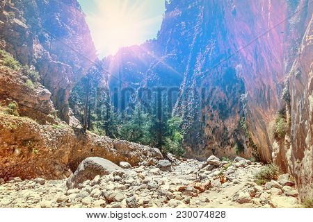 Sun Is Shining Through The Edge Of Canyon In Samaria Gorge In Central Crete