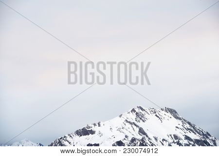 Snowy peaks in Aspe Valley, Pyrenees, France.