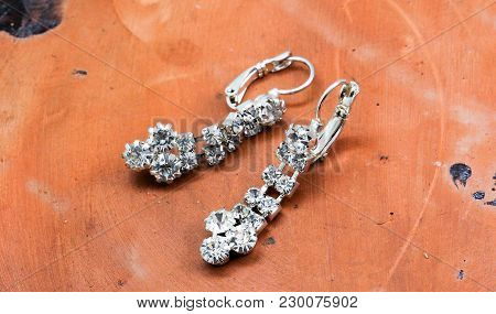 Pair Of A Fashion Silver Earrings With Precious Stones