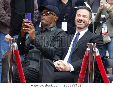 Samuel L. Jackson and Jimmy Kimmel at Lionel Richie Hand And Footprint Ceremony held at the TCL Chinese Theatre in Hollywood, USA on March 7, 2018.