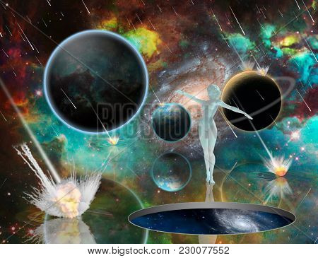 Surreal composition. Armageddon. Asteroids destroy planets. Woman's statue from white pure marble. Opened wormhole to another dimension - Salvation. 3D rendering