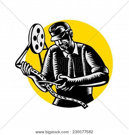 Retro Woodcut Style Illustration Of A Film Editor, Filmmaker, Movie Director Or Moviemaker Cutting A