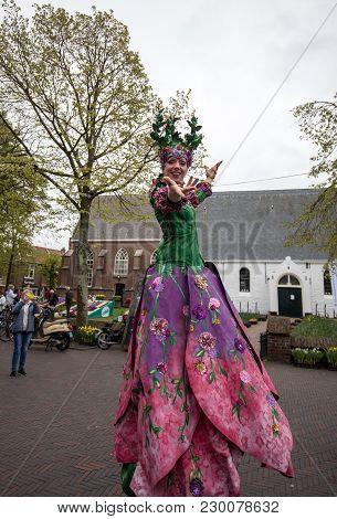 Noordwijkerhout, Netherlands - April 21,  2017: Women In Colorful Dresses Walking On Stilts  At The