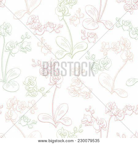 Orchid Flower Graphic Color Seamless Pattern Sketch Illustration Vector